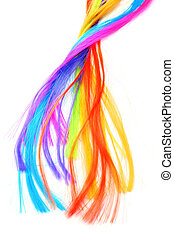 hair extensions of different colors on a white background
