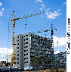 construction of a modern residential building