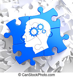 Psychological Concept on Blue Puzzle - Psychological Concept...