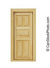 Wooden Door - Wooden interior door with five panels used to...