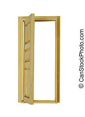 Wooden Door Open - Wooden interior door with five panels...