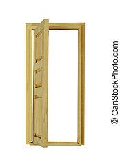 Wooden Door Open - Wooden interior door with five panels...