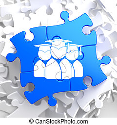 Group of Graduates Icon on Blue Puzzle. - Icon of Human...