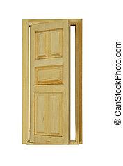 Wooden Door partially open - Wooden interior door with five...