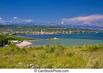 Posedarje bay and Velebit mountain, Dalmatia, Croatia