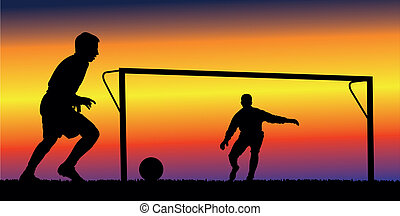 soccer or football background - soccer players on the...