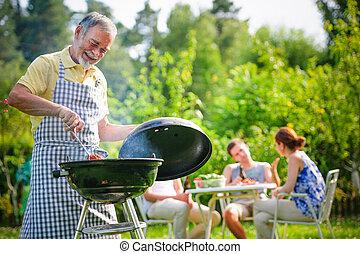 churrasco, tendo, família, Partido