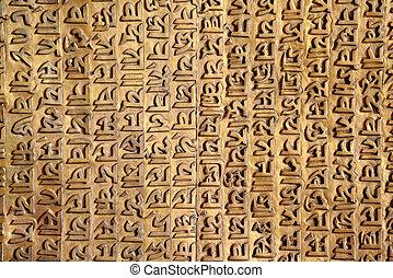 Ancient Sanskrit carving on a golde - Ancient Sanskrit...