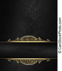 Black rich texture with black ribbon and gold pattern on the...