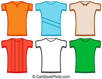 set isolated colorful T-shirt on white background