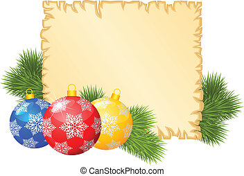 Christmas congratulations background with old paper sheet,...