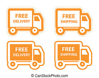 Free shipping, delivery icon set vector illustration