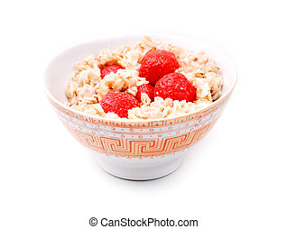 Porridge with strawberry isolate on white, healthy breakfast...