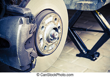 reparación, coche, frenos