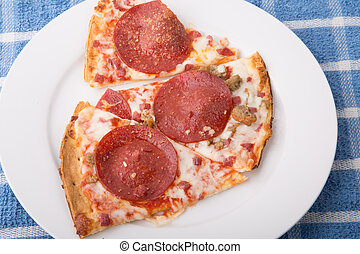 Slices of Pepperoni Pizza on White Plate