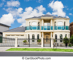 Modern Suburban House - facade of a luxury modern suburban...