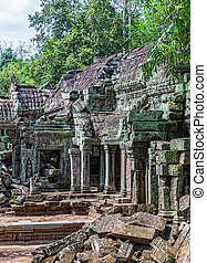 The architecture of the ancient temple of Ta Prohm in Cambodia