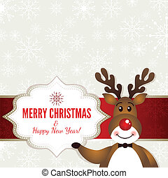 Christmas frame with Rudolph the red nosed deer. EPS 10...