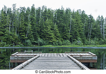 Dock on Heart Lake - Small wooden dock on quiet lake...
