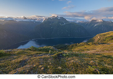 Blue Lake on Baranof Island in Alaska seen from high up on...