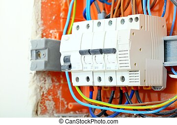 Electrical panel box with fuses and contactors - Electrical...