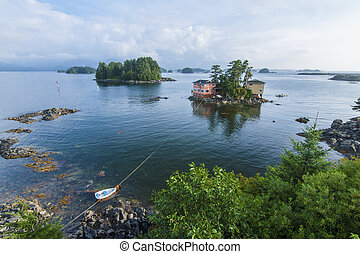 Sitka, Alaska - Beautiful calm summer, seascape with boat...