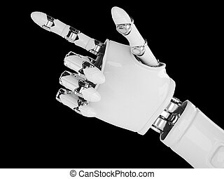 Isolated robotic pointing arm on background