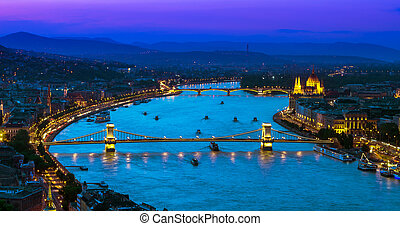 Upper view of Budapest over Danube river - View over the...