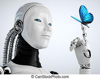 robot, androide, donna, farfalla