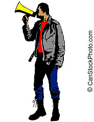 Man with megaphone - Vector illustration of a young man with...