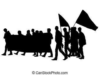 Picket - Vector drawing of anarchists with large flags