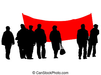Protest banner - Vector drawing of anarchists with large...