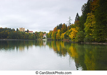 Castle and lake - Hohenschwangau castle and tree reflections...