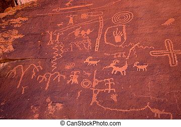The Valley of Fire Petroglyphs on Atlatl Rock - Petroglyphs...