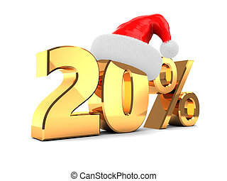 christmas sale - 3d illustration of 20 percent christmas...