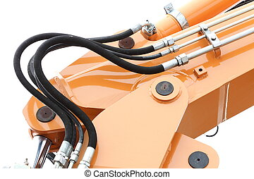 Detail of hydraulic bulldozer white background - Detail of...