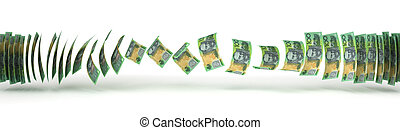 Australian Dollar Transfer isolated with clipping path