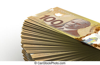 Stack of Canadian Dollar (isolated with clipping path)