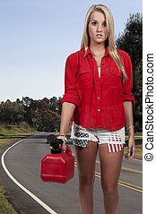 Woman with Gas Can