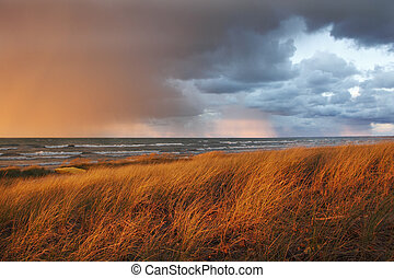 October Storm Passing Over Lake Huron - Storm Clouds Passing...