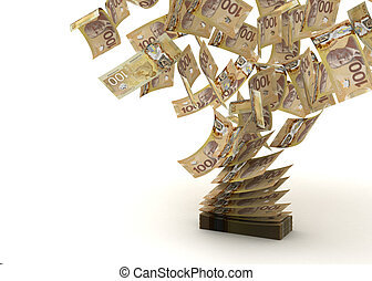 Flying Canadian Dollar (isolated with clipping path)