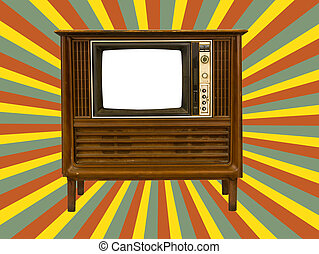 Old television and retro sun rays - Old television with...