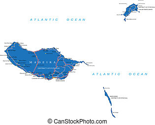 Madeira map - Highly detailed vector map of Madeira with...