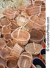 Wickerwork baskets - Full frame take of a heap of wickerwork...
