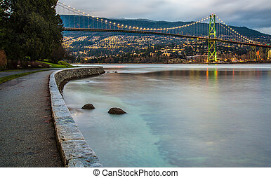 Lions Gate Bridge at Sunset - Sunset lighting Lions Gate...