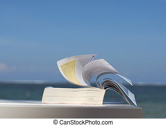 closeup of a book on beach