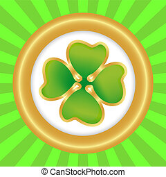 Clover on the day of St patrik in round banner