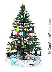 Plastic bottles waste decorating a christmas tree