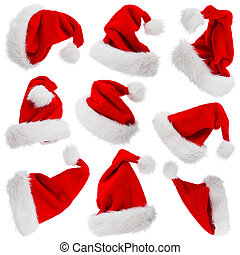 Santa Claus hats isolated on white - Furry and fluffy Santa...