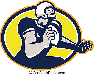 American Football Quarterback Retro Oval - Illustration of...